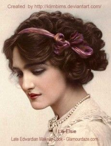 Post Edwardian Hair and Makeup look. Lili Elsie in 1912 http://klimbims.deviantart.com/ To have a tan, was to suggest that a lady was of a lower class, who worked the land. So women of the 'better class' remained indoors or in the shade for most of their day.