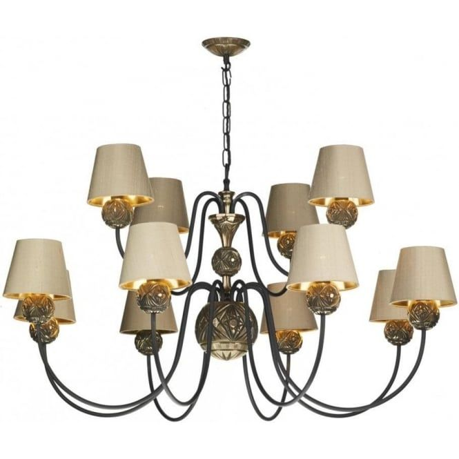 A substantial size traditional ceiling pendant light in bronze and black complete with taupe silk shades. The 12 light Novella ceiling light is a quality fitting manufactured right here in the UK for our Artisan collection of lighting.