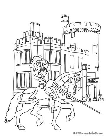 Knights And Castles Coloring Pages | KNIGHTS ONLINE coloring pages - Knight in front of a castle coloring ...