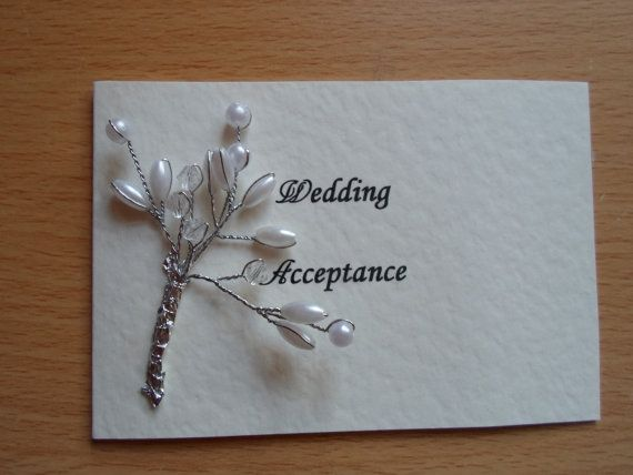 Sprigs of Pearls Wedding Invitation Acceptance by WendyLizabet, £2.00 SOLD