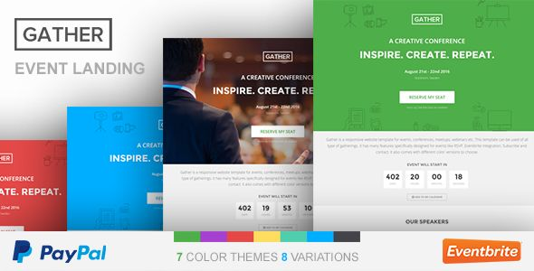 Gather is a Responsive Event, Meetup and Conference HTML5 Event Landing Page Template with Working Paypal Integration, Eventbrite Integration and Mailchimp Integration. You can make a complete even...