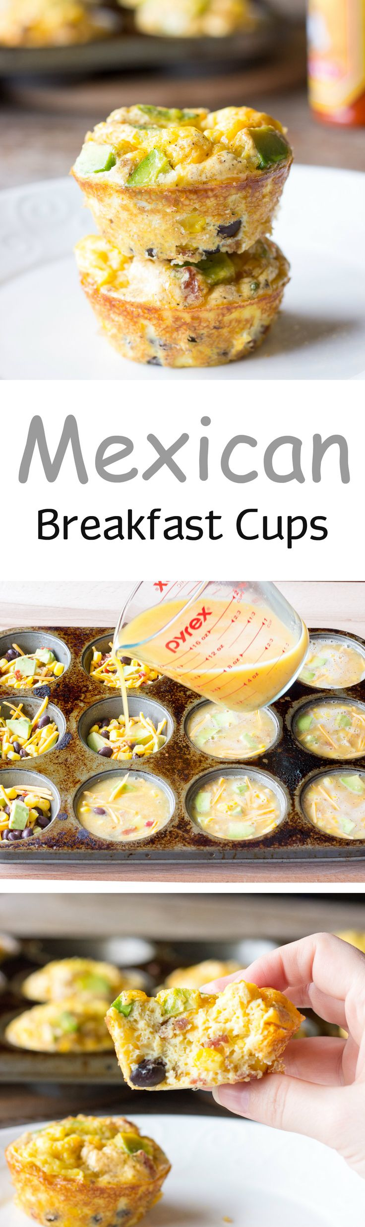 Mexican Breakfast Cups - Eggs, bacon, cheese, corn, black beans, and avocado baked in a muffin tin.