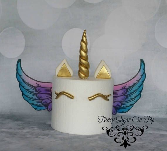 Cake Decorating Unicorn Horn : Fondant Unicorn Horn Cake Topper Set with Edible Wings ...