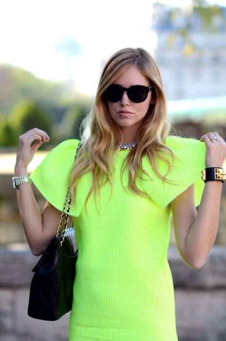 fluro yellow dress, giant starched shoulders