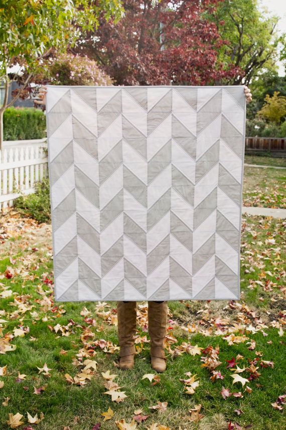 Cool Grey and White Herringbone Cloud Quilt by radandhappy on Etsy, $175.00