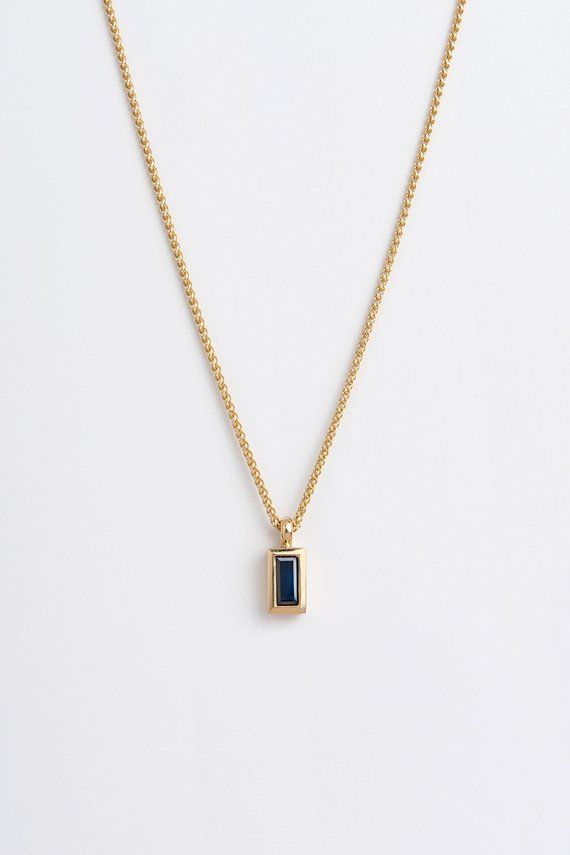 Blue Star Sapphire Pendant Necklace in Yellow Gold Plated Silver or Sterling Si