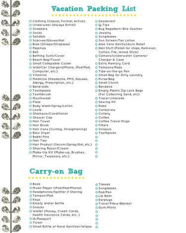 Vacation Packing List~  It is a good idea to repin this