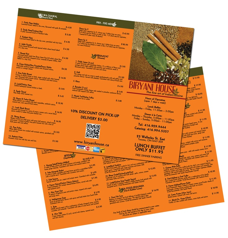 Take out menu designed and printed by Mass Media Inc.