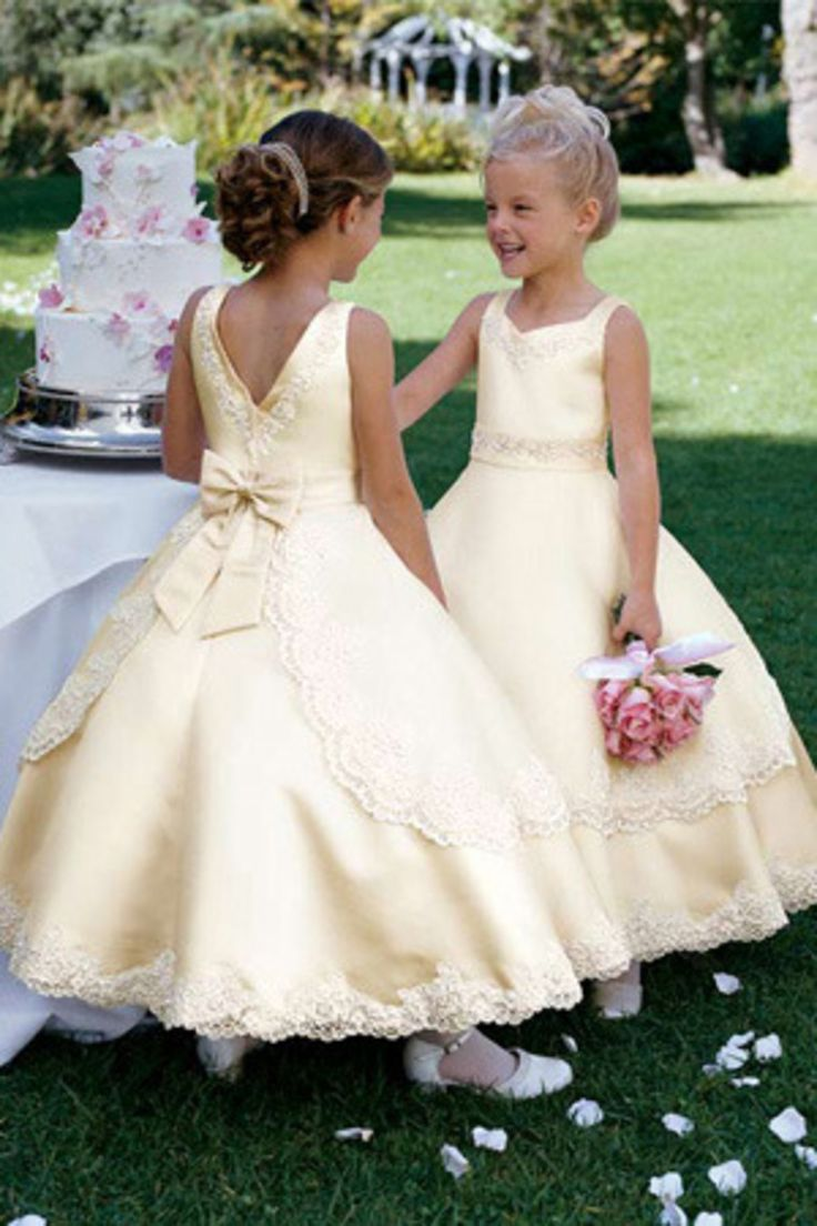New Arrival Flower Girl Dresses A Line Straps Ankle Length Satin With Bowknot And Applique