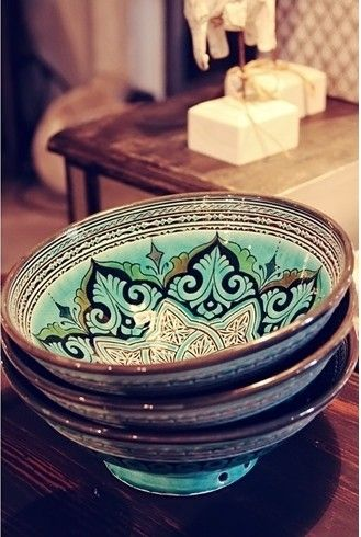 Fabulous colors and patterns on these boho bowls.