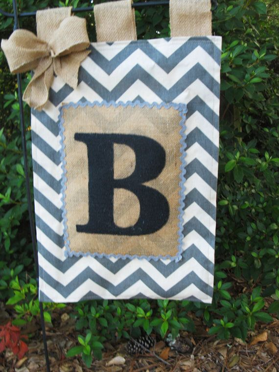 Burlap Chevron Monogrammed Garden Flag* Chevron Initial Garden Flag*Custom Burlap Garden Flag* Burlap Yard Flag. Makes a great Mothers Day gift!  This adorable Chevron & burlap garden flag with hand painted initial will be perfect for your lawn or garden! This would make an excellent gift for any occasion also.  Our flag is made of chevron duck cloth that is hemmed around all 4 sides with the initial of your choice ( choose initial from the drop down menu above) hand painted on the burlap…
