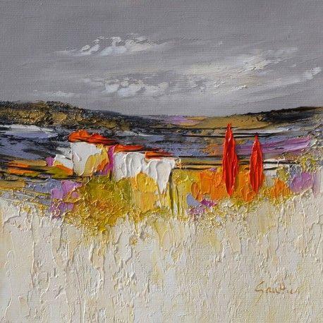 Landscape Artwork - Hiver en luberon - Dominique Gaultier - Oil