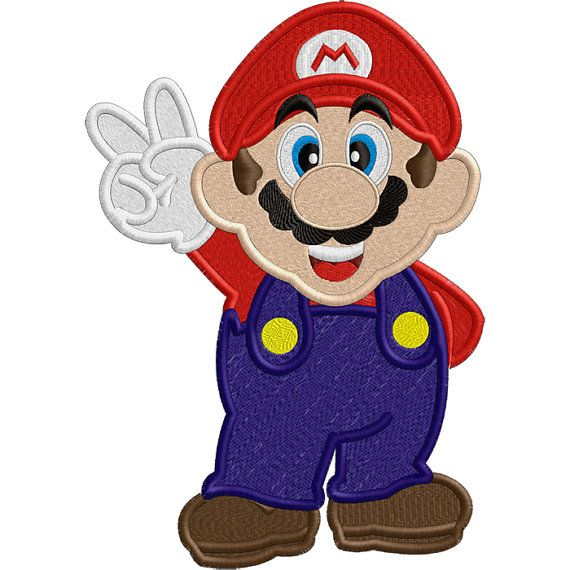 Red Plumber 2 Video Game Character Applique Or
