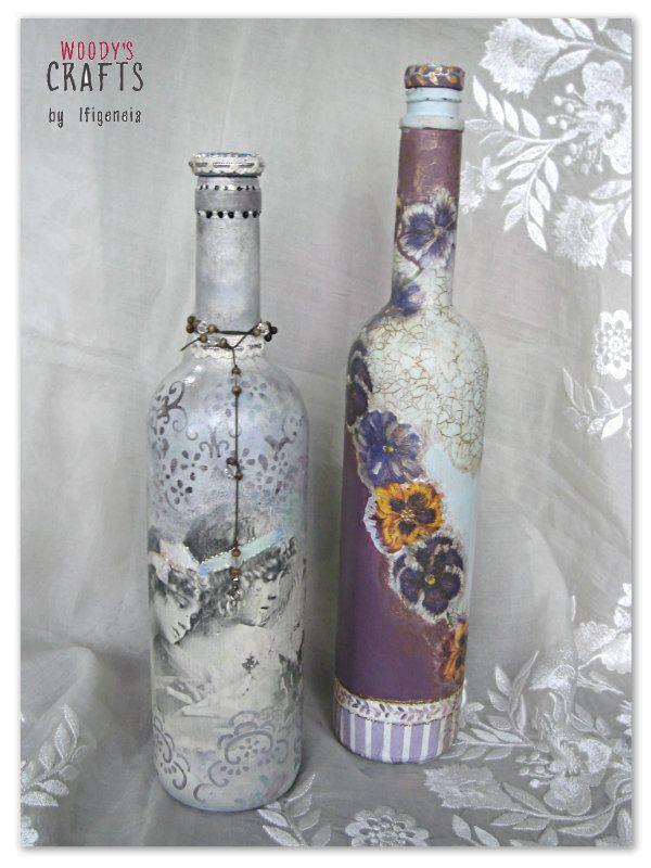 Διακοσμητικά μπουκάλια με τεχνοτροπία #decoupage |Woody's Crafts by Ifigeneia | Περισσότερα στη διεύθυνση: http://j.mp/boukalia-woodys-crafts-gallery