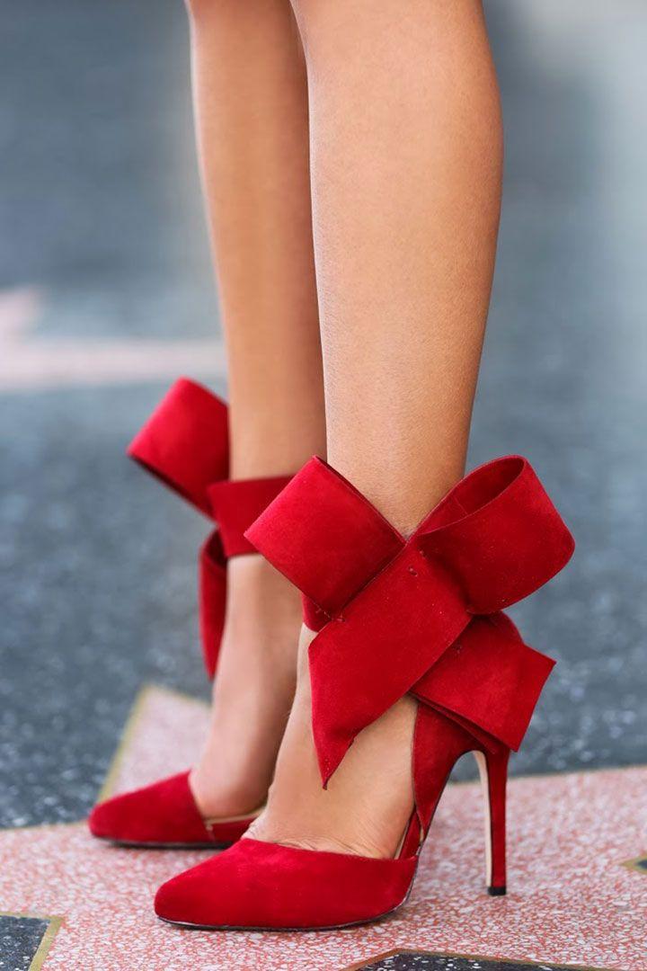 Love these Aminah Abdul Jillil's festive red bow pumps!