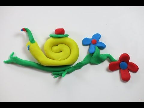 DIY Play Doh Yellow Snail on a Branch with Flowers