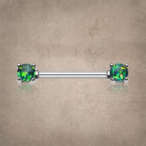 Schwarzer Opal Zinke legen Nippel Ring, Brustwarzenpiercing, Brustwarze Schmuck. 14 Messen Brustwarzenpiercing und Langhantel ist 5/8 oder 16mm