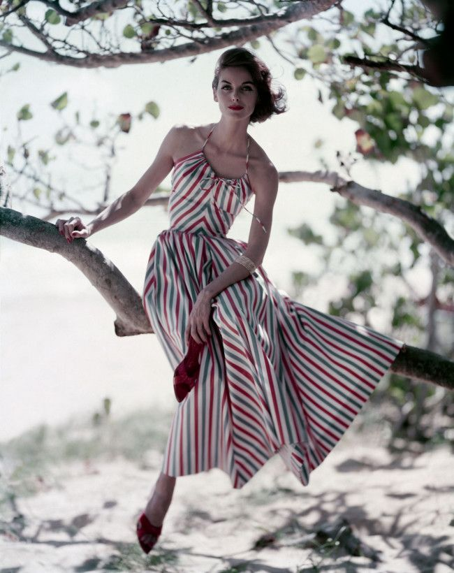 The Perfect Summer Striped Dress And Red Stiletto Mules 1957 Vogue365