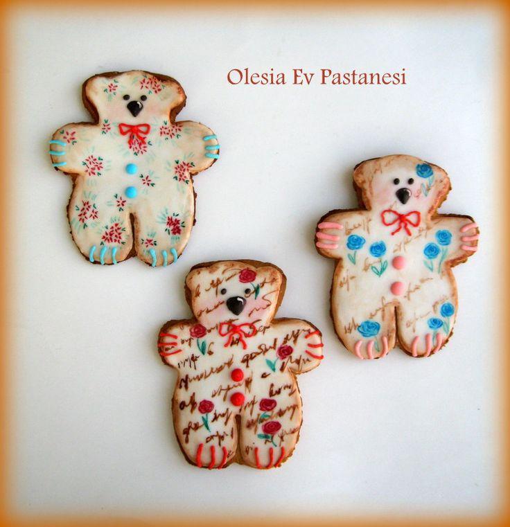 bear cookies,royal icing cookies,ayı kurabiyeler