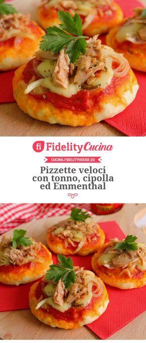 Pizzette veloci con tonno, cipolla ed Emmenthal