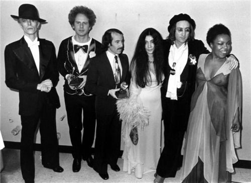 David Bowie, Art Garfunkel, Paul Simon, Yoko Ono, John Lennon & Roberta Flack by Bob Gruen, NYC, 1975