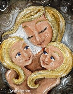 Kissed By Light - blonde mom and girls print by Katie m. Berggren