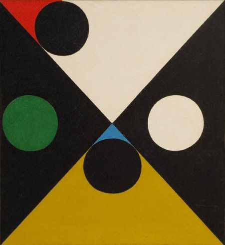 """'Same Difference"""" by Frederick Hammersley, 1959. Oil on linen, 12 x 8.5 inches. Photo: Gary Mamay."""