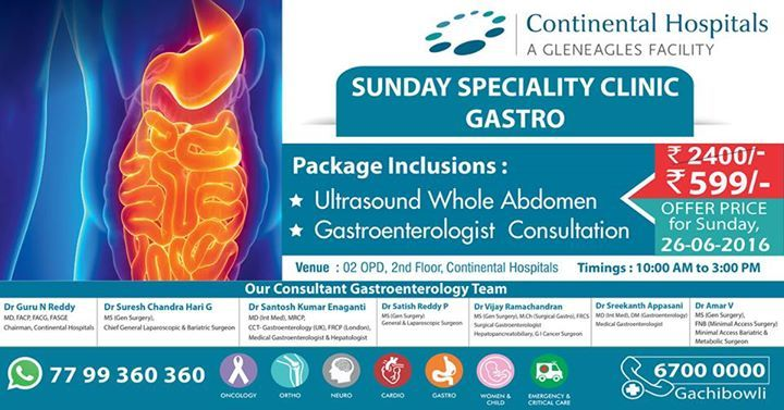 Sunday Super Speciality Clinic At Continental Hospitals. #Offer #Gastroenterology #HealthCheckup #Gastro