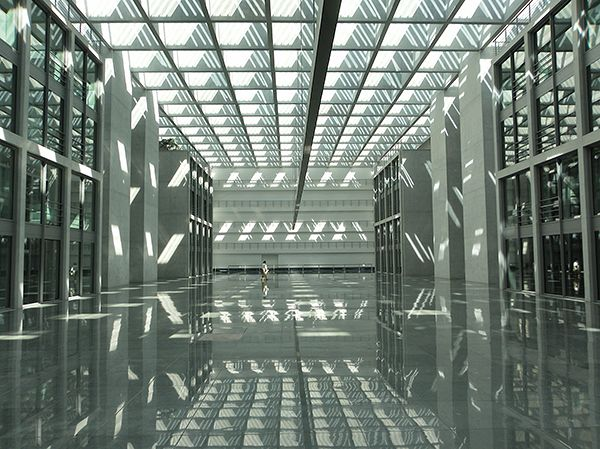 Picture of a stark lobby in the Bundestag building complex, Berlin