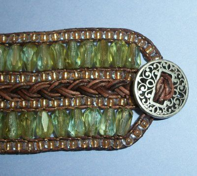 Braided & beaded leather bracelet - Tutorial PDF for sale, via Denise Galloway on Etsy.  #handmade #jewelry