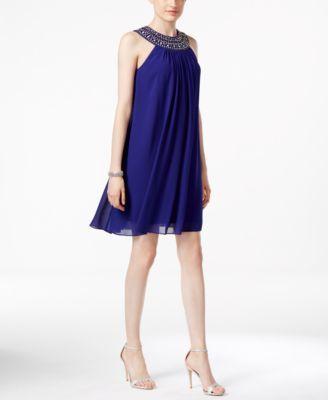Vince Camuto Embellished Halter Trapeze Dress   macys.com
