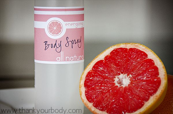 To make this use the basic body spray recipe with these essential oils:  15 drops of grapefruit  5 drops of lavendar    This is my favorite scent during the summer, although I still like it during Winter. It's so happy. Grapefruit oil is emotionally uplifting (and often used as an antidepressant). Lavendar is soothing and relaxing.