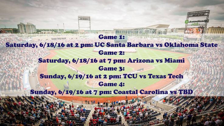 The schedule for opening weekend is set! Make sure to secure your Lower Reserved & Club seats for the 2016 College World Series at TicketExpress.com! See ya at the ballpark!