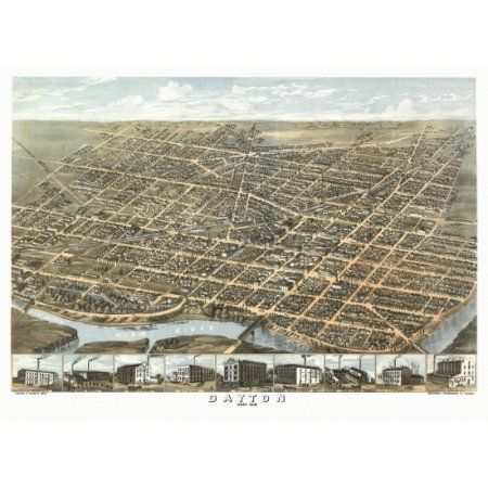 Antique Map of Dayton Ohio 1870 Montgomery County Canvas Art - (18 x 24)