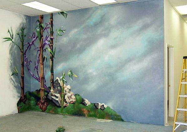 Painting bamboo wall murals murals decals wall for 3d mural painting