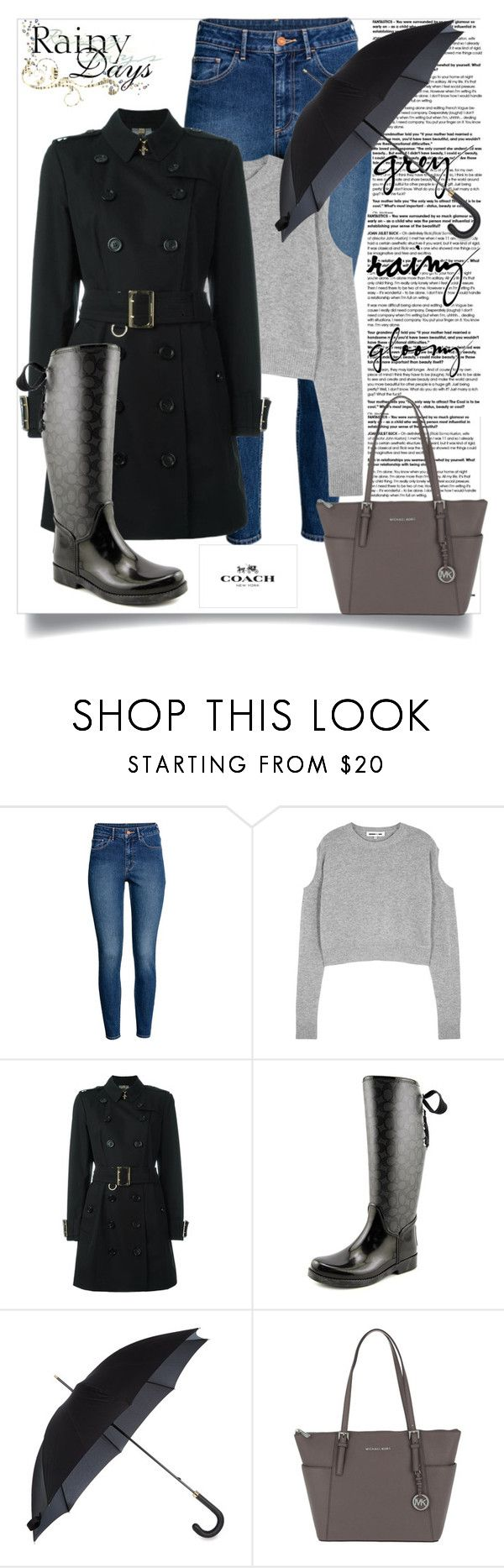 """""""I Love a Rainy Night"""" by perezbarrios on Polyvore featuring H&M, McQ by Alexander McQueen, Burberry, Fulton and MICHAEL Michael Kors"""