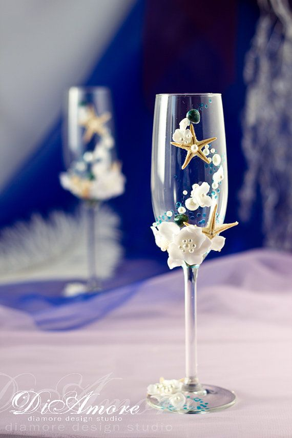 Nautical Wedding champagne glasses with pearls and от DiAmoreDS