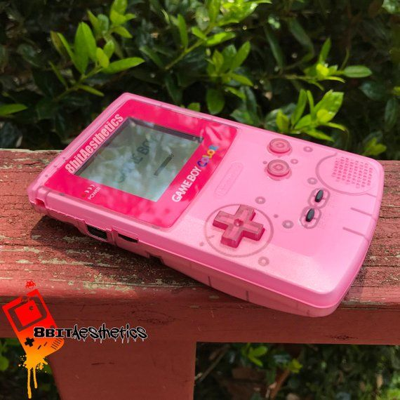 Custom Frontlit Nintendo Gameboy Color Clear Pink for Retro