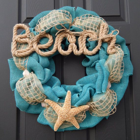 beach decor burlap wreath with starfish and seashells ocean nautical home decor on etsy - Ocean Home Decor