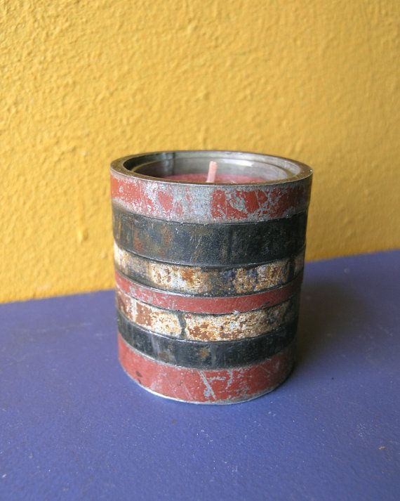 Red Metal Candle Holder   Industrial Decor Upcycled by PaulaArt, $30.00