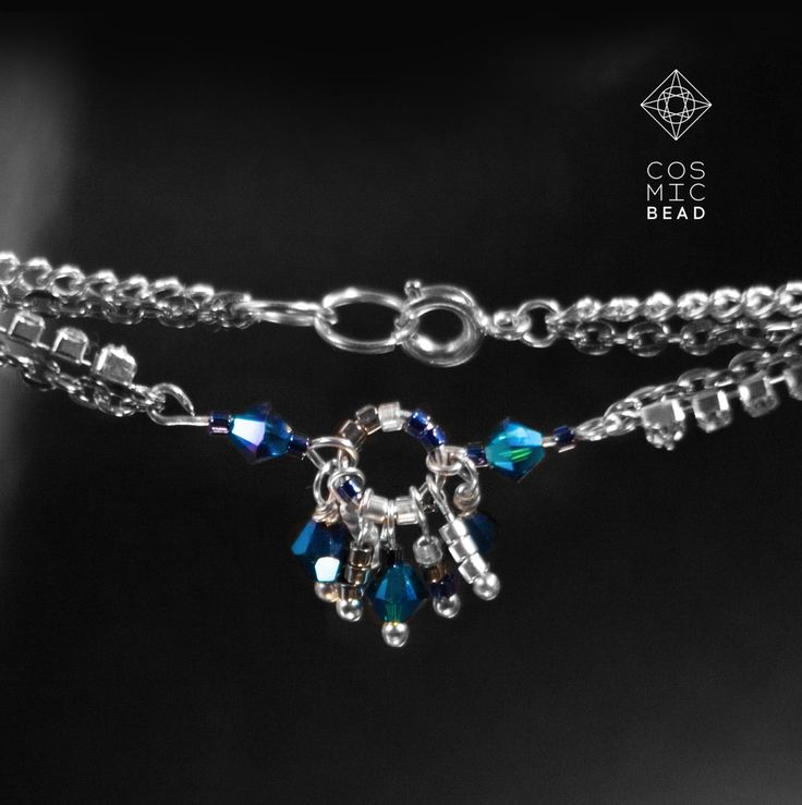 """Silver set """"FROST"""" of chain bracelet and long earrings with chain of rhinestones and blue crystals swarovski, as well as Japanese beads by MyCosmicBead on Etsy"""