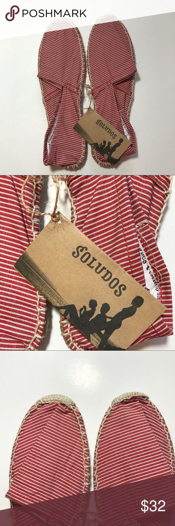 NWT SOLUDOS - Red and White Stripe Dali Slipper Brand new with tags. Size 39. SOLUDOS red and white stripe espadrille slipper. Nautical and perfect for summer! Soludos Shoes Espadrilles