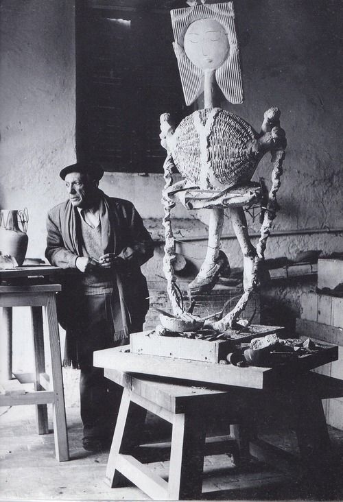 Pablo Picasso in his Studio (Atelier)  Photo by Edward Quiin  Pablo Picasso: http://en.wikipedia.org/wiki/Pablo_Picasso  Edward Quinn: http://en.wikipedia.org/wiki/Edward_Quinn