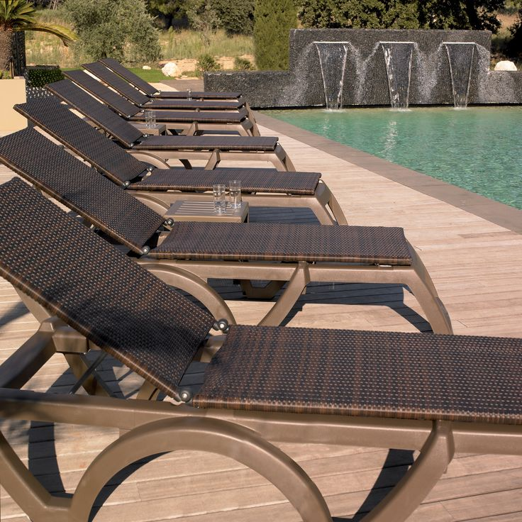 Java Pool Lounge Chair with Bronze Mist Frame and Espresso Resin Wicker