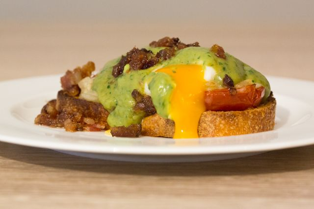 Poached Eggs with Avocado & Cilantro Hollandaise, Oven Roasted ...