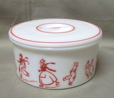 Vintage Hazel Atlas Red Dutch Skaters Grease Drippings Utility Jar w Lid