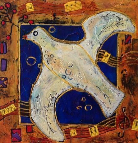 """#ASI artist   """"Peace"""", mixed media painting by Joanne Larose"""