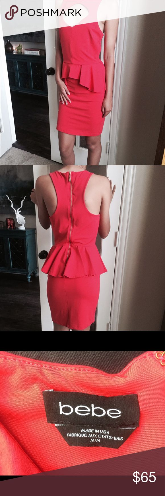 Red peplum midi Bebe dress Awesome LRD! Peplum, form fitting, keyhole neck, razor back, gold zipper. Wore once on Valentines. bebe Dresses Midi