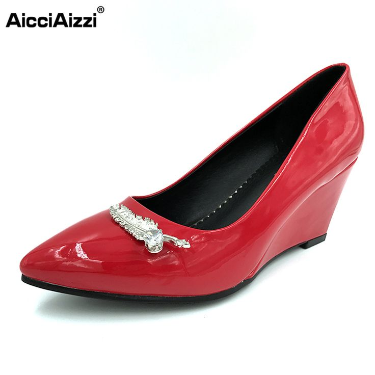 AicciAizzi Women Pointed Toe Wedge Shoes Woman Sexy Shallow Mouth High Heel Pumps Ladies Office Court Heels Shoes Size 32-42 #Affiliate