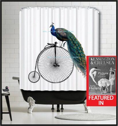 Bicycle Peacock Shower Curtain - vintage bike penny farthing bicycle peacock shower curtain